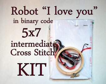 "Cross Stitch Kit -- Robot ""I love you"" advanced beginner kit"