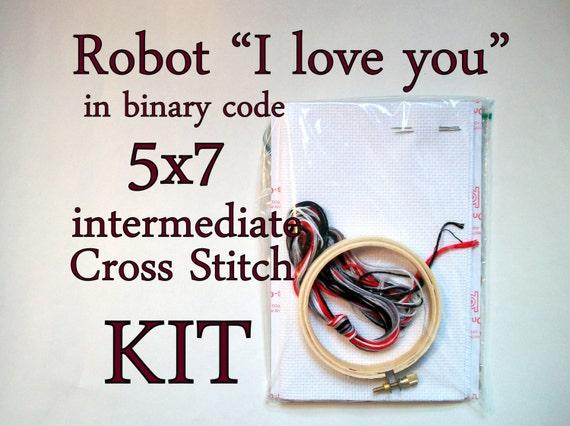 "Cross Stitch Kit -- Robot ""I love you"" advanced beginner kit"