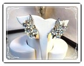 White Flowers Earrings - Vintage Cluster w Rhinestone   E3328a-063013000