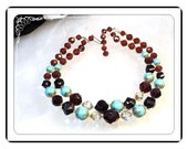 Double Strand Necklace - Vintage w Turquoise & Root Beer Brown Beads   Neck-1466a-091713000