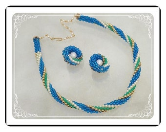Twisted Bead Demi -  Blue Green White and Gold Necklace & Earrings Demi-1631a-121012000