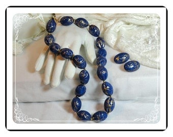 "Blue Bead Demi - Must ""C"" Vintage Painted/Laquered -  Big & Bold Outstanding  Demi-1017a-121611000"
