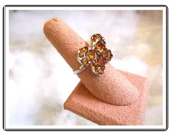Butterfly Adjustable Ring - Vintage Sweet Amber Rhinestone Set In Silvertone   - R2783a-090314007