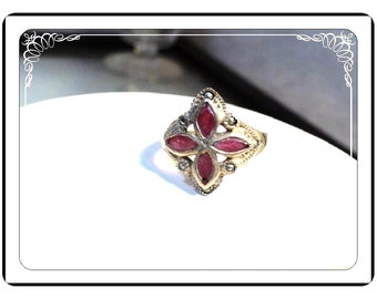 Art Deco Sterling Silver Ring - Marcasite & Carnelian Red  -  1824a-051613000