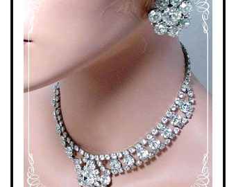 Necklace & Earring Set  - Totally Over The Top Icy Hot Rhinestone   Demi-1429a-120511000