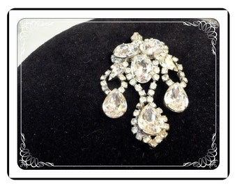 Vintage Rhinestone Brooch - Vintage Drippy Bling Clear Rhinestones Pin-1864a-051613000