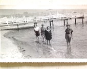 Vintage Snapshot of Lady Friends at the Beach in the Water 1940s Antique Photography