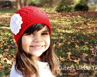 Crochet Hat for Girls, Girl Red Hat, Girl Christmas Hat, Crochet Hat for Babies, Newborn girl Hat,  Baby Girl Hat, Baby Girl Hats