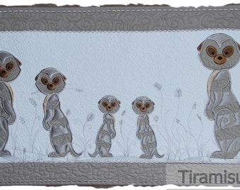 Meerkat Applique in Two Styles for the 160 x 260 mm Embroidery Hoop