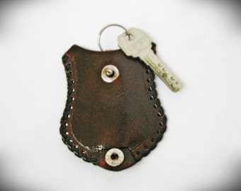 Vintage genuine leather keychaine Brown Not used