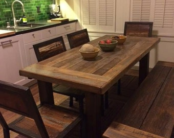 "Reclaimed Wood 48"" x 30"" x 30""  Farm Table & Two Benches -SALE only 600.00    SF Bay ONLY!"