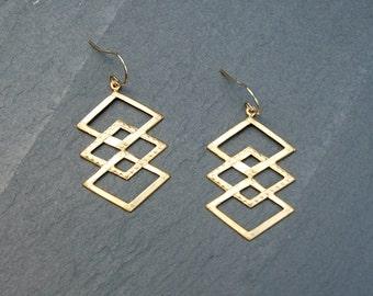 Gold diamonds earrings - brass geometric square textured entwined linked boho - statement dangle - large gold bohemian earrings - namun