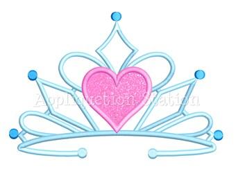 Tiara Heart Crown Machine Applique Embroidery Design fancy Birthday princess INSTANT DOWNLOAD