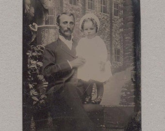 Tintype of a Man and His Little Girl ~ Unusual Backdrop