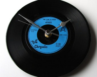 """BLONDIE Vinyl Record Clock """"The Tide Is High""""  Recycled 7"""" single. Great for Debbie Harry fans. Ramones New York Dolls punk rock wall clock"""
