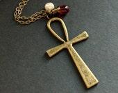 Ankh Cross Necklace. Egyptian Hieroglyph Necklace. Ankh Necklace. Key of Life Necklace. Bronze Necklace. Charm Necklace. Handmade Jewelry.