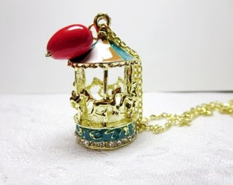 sale Carousel Necklace -Tiny red heart  Necklace- Little carousel