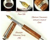 Custom Wooden Pen Custom Fountain Pen Beautiful Curly Koa and Rhodium and Gold Hardware 777FPB