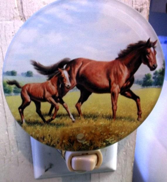 mare & colt night light, horse night light, western night light, pretty night light, decorative light, bathroom light, kitchen light