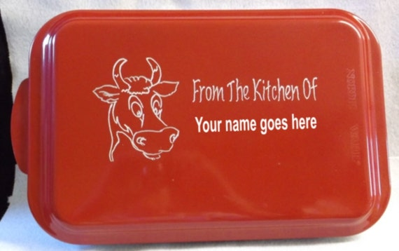 engraved cake pan, personalized pan, customized cake pan, red cake pan, cow cake pan, special made pan,  cake pan with name, colored pan