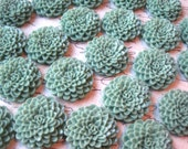 Sage Green Dahlia Cabochons / 6 pcs Resin Flower Cabochons / Mum Cabochon Flowers / No Holes / Perfect for Jewelry Projects