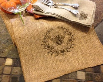 Bumble Bee Wreath - Embroidered - Burlap Table Runner  - Spring Bumble Bee Nature
