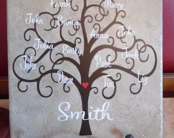 Family tree tile, 12 x 12 ceramic tile, family decor, family branch, family name, gifts for family