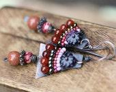 Rustic Alegria,Alegria Series earrings-artisan,metal,rustic,beaded,south western,eclectic,folk,ethnic,boho,tribal,festive,bohemian,pink