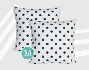 Navy Blue Polka Dot Pillow Covers Shams - 18 x 18, 20 x 20 and More Sizes - Zipper Closure- dc1820