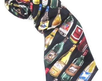 SILK WINES VINO Necktie Assorted Bottles on Navy Neck Tie