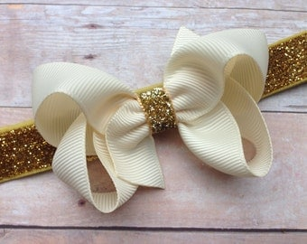 Ivory boutique bow on gold glitter headband - gold baby headband, gold headband, ivory bow headband, Christmas headband