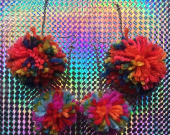 Pom Pom Dangle Earrings