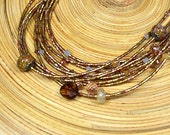 Boho chic multistrand necklace Rustic brown multi layer necklace Bohemian glass bead and citrine stone necklace Office jewelry