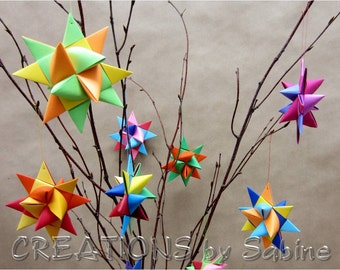 Custom Ornaments Paper Stars or Ribbon Stars MADE TO ORDER Create your own Custom Order for 3-d or flat Garlands / German Froebel