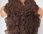 Brown Knitted Shawl Scarf, Neck Wrap,Fall Winter Scarf, Neck Warmer,Winter Accessories, Fall Fashion, Holiday Accossories,Christmas Gift