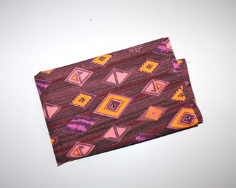 1970s FABRIC - Purple Tribal Feel - Diamond Print in Purples, Pink, and Orange - Hipster Fabric