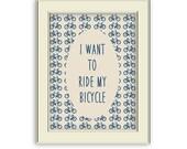 Bicycle Art Printable- Bike art printable. Home Decor, Cyclist gift, Navy and Cream Decor