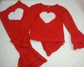 GIRLS RED VALENTINE Outfit- Red Heart Toddler Outfit, Girls Boutique Outfit, Girls Heart Outfit, Toddler Girls Valentine Outfit, Cute Outfit