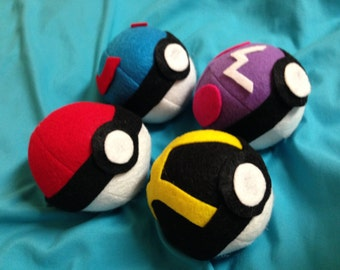 AVAILABLE - SET of 4 - Original Pokeball Pokemon Plush Toy Set