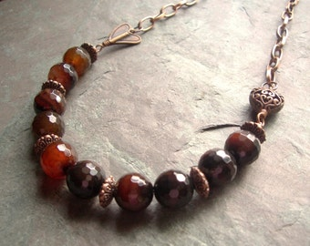 "Agate Amber Necklace / One-of-a-Kind / Antique Copper / Banded / Toggle / Faceted / Brown / Red / Black / Heart / Chain - 23"" long - N11"