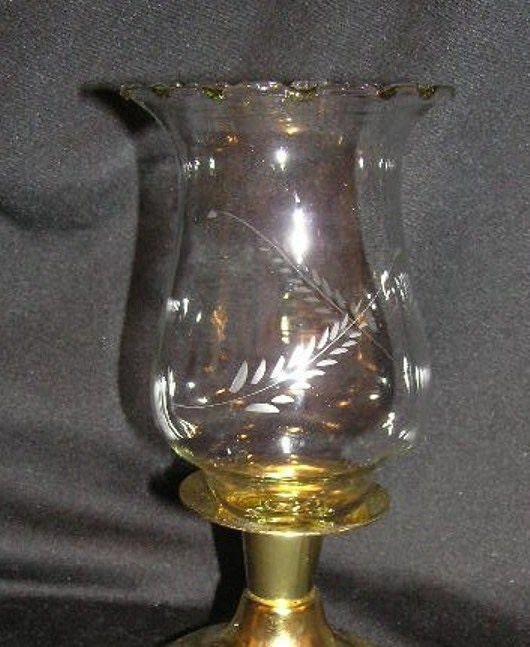 Etched Glass Peg Votive Us Shipping Included Wheat Design
