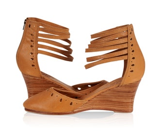 ANATOLIA. Wedges shoes / leather wedge sandal / bridal wedge / high heels /boho shoes. Sizes 35-43. Available in different leather colors