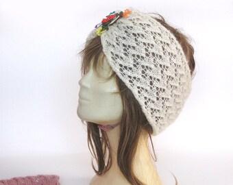 Knitted headband, Bandana, color bandanas, ear warmer, head accessory, lace knit bandana, Womens  accessories, knit hair accessories