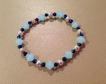 Beaded Glass Metallic Dark Blue / Light Blue Bicone / Metal Filagree Spacer Stretch Bracelet (M)
