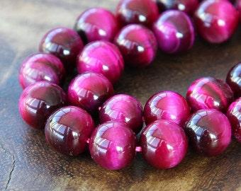 Tiger Eye Beads, Fuchsia, 10mm Smooth Round - 15 Inch Strand - eGR-TE542-10