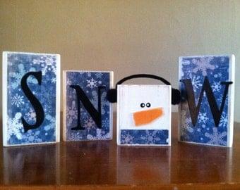 READY TO SHIP!!  Wood snow block sign - Seasonal home decor -  winter decor - blue and white snow - Christmas decor
