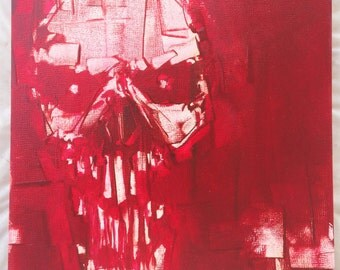 "Red Skull Oil Painting.  8x8"" on art board.  Scary Skull"