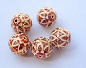 5 Meenakari, enamel work round beads, red, white and gold combo, Indian beads, cloissone, 16mm in size