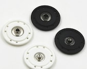 6 pcs 0.59~1.18 inch Simple White/Black Snap Fastener Nylon Metal Shank Buttons for Down Jackets Coats