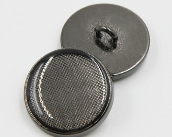 6 pcs 0.59~0.79 inch High-grade Gun Black Grid Metal Shank Buttons for Casual Suits Coats